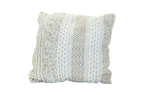 Woven Cream and White Pillow