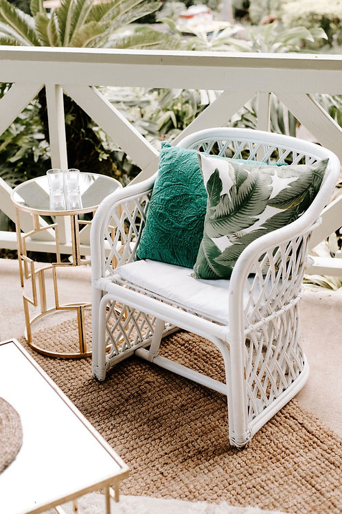 Small White Rattan Side Chair
