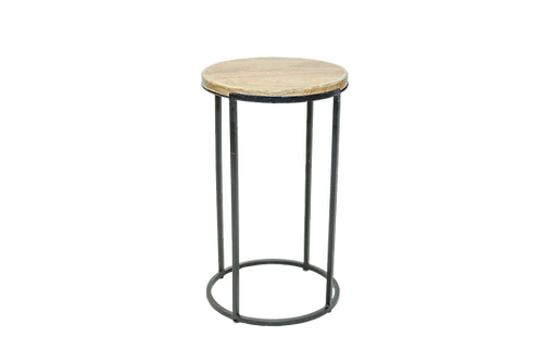 Round Wood & Metal Side Table