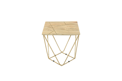 Golden Geo Wood Side Table