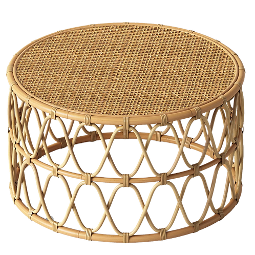 Low Round Rattan Coffee Table
