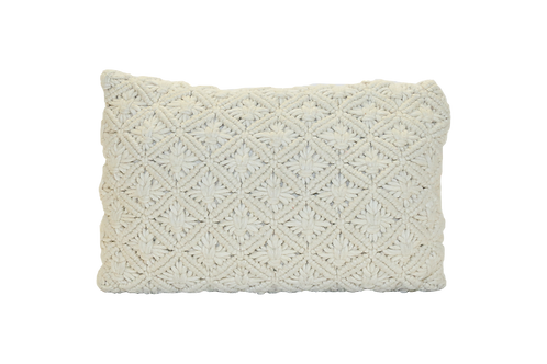 Cream Macrame Lumbar Pillow