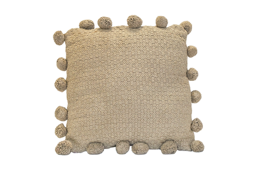 Large Taupe Pillow with Poms