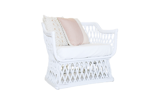 White Rattan Woven Side Chair
