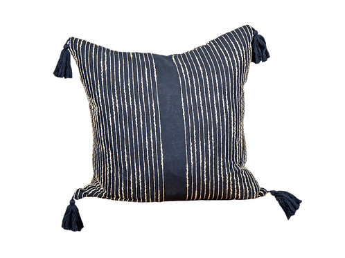Navy Tassel Pillow