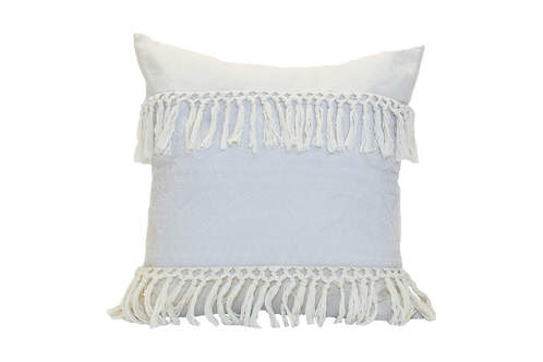Large Embroidered Pillow With Tassels