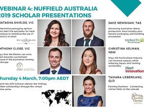 Nuffield Australia Webinar Series: 2019 SCHOLAR PRESENTATIONS