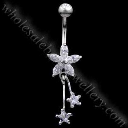 Flower Stars Silver & Steel Navel (BM105)