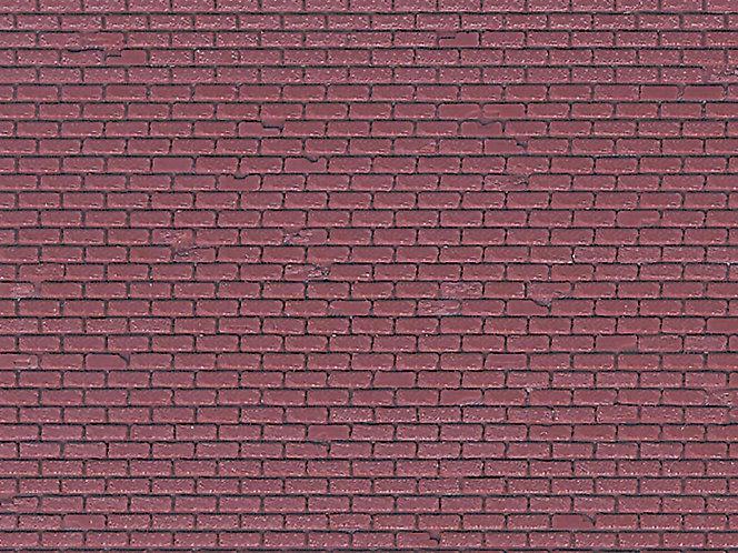 Plaque plastique mur de briques rouge HO - Vollmer 46028