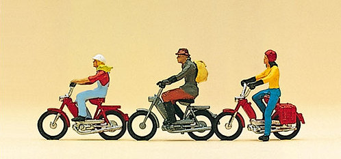 Preiser 10125 - Figurines, motocyclistes HO