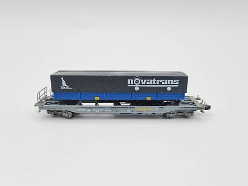 Wagon plateau + container Novatrans - Roco N