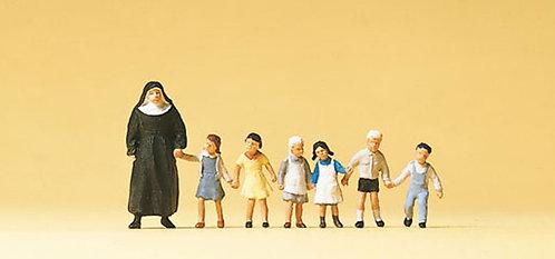 Preiser 10401 Figurines, nonne avec enfants HO