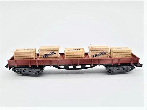Wagon à plateforme 4 essieux + caisses  - Ibertren 395 N