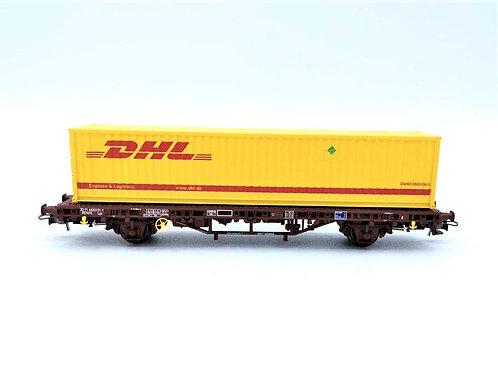 """Wagon  porte containeur + containeur """"DHL""""  - Electrotren E1462 HO"""