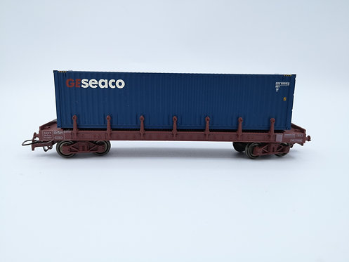 "Wagon plateau avec containeur ""GESEACO"" - HO"