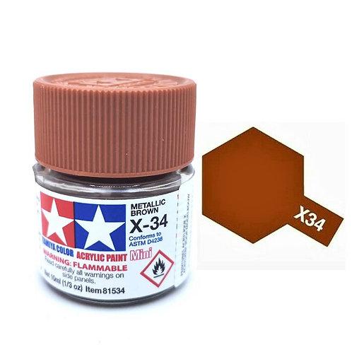 Tamiya X-34 - Brun métal brillant (10ml)