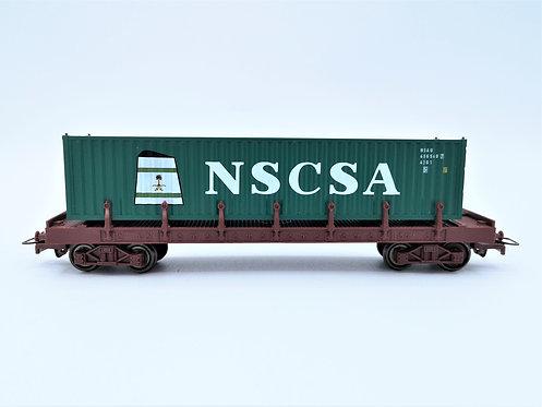 """Wagon plateau avec containeur """"NSCSA"""" - HO"""