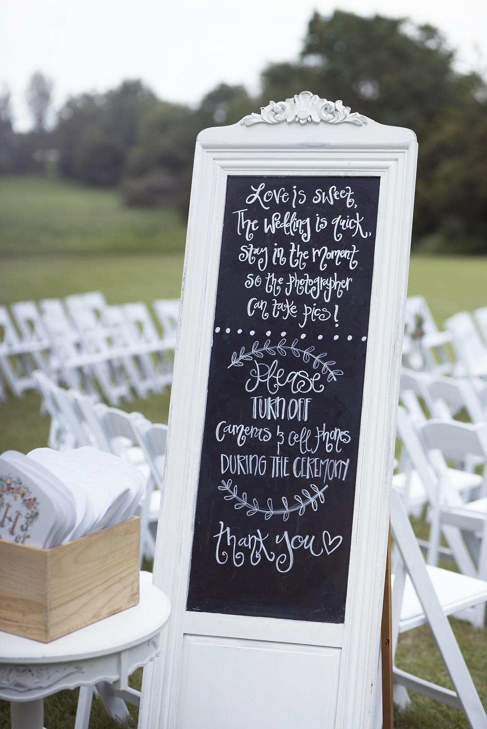 Wedding Photography portrait of an unplugged wedding chalk board sign