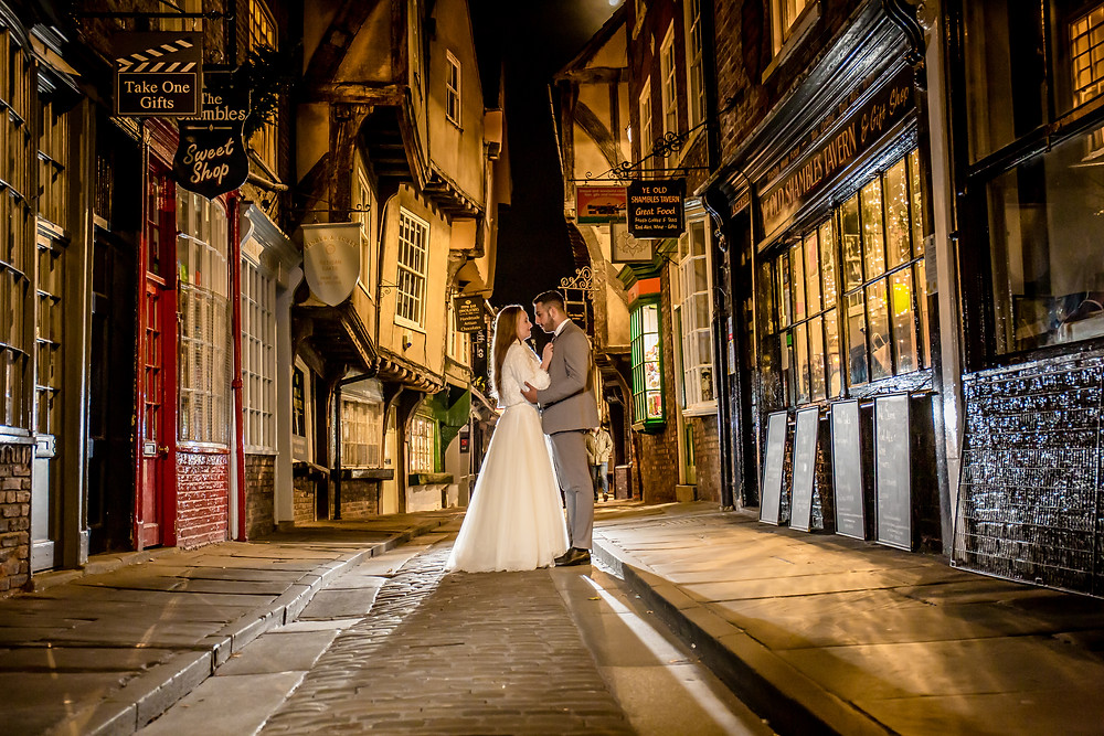 Bride & Groom Portrait at the Shambles York