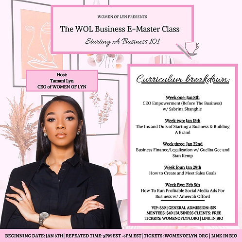 Starting A Business 101 E-Master Class *MENTEES ONLY* Ticket