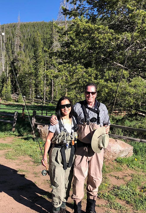 Jubie Muchow and Mark Muchow fly fishing with ADG titanium fly rods