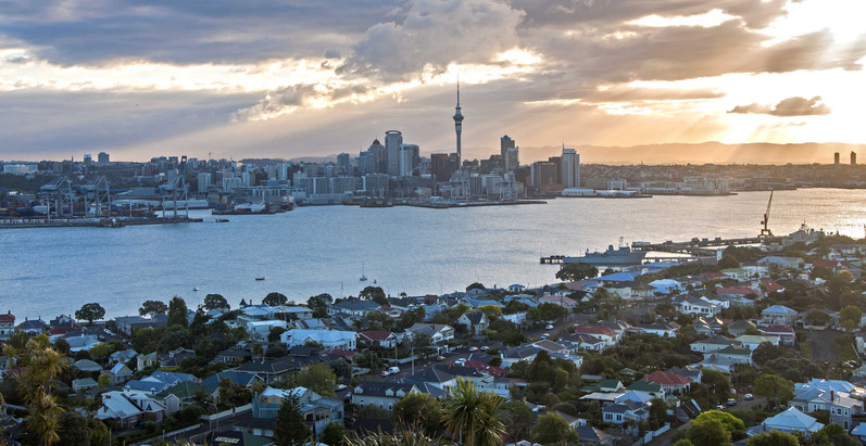 Auckland at sunset, New Zealand. 2014