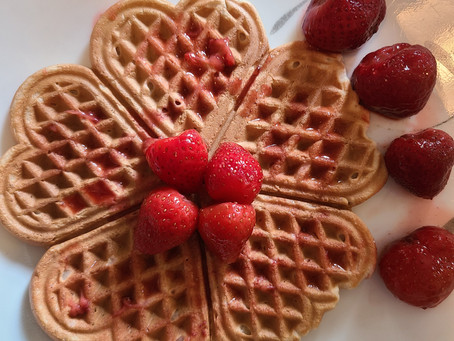 Healthy Whole Wheat Strawberry Waffles