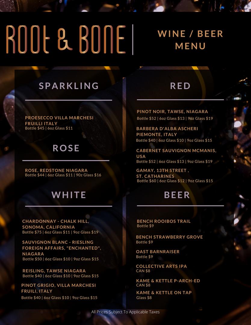 Root & Bone Wine Menu