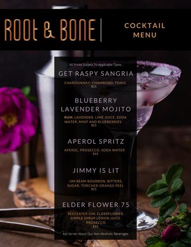 Root & Bone Cocktail Menu