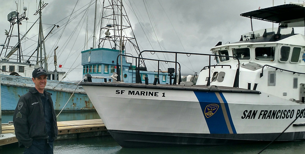 My host Sgt. Keith Matthews of the SFPD Marine/Homeland Security Unit and the venerable SFPD Marine 1.