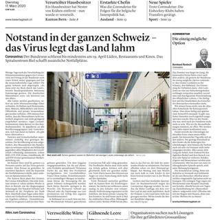 Notstand! Frontbild: Mattia Coda; Bieler Tagblatt