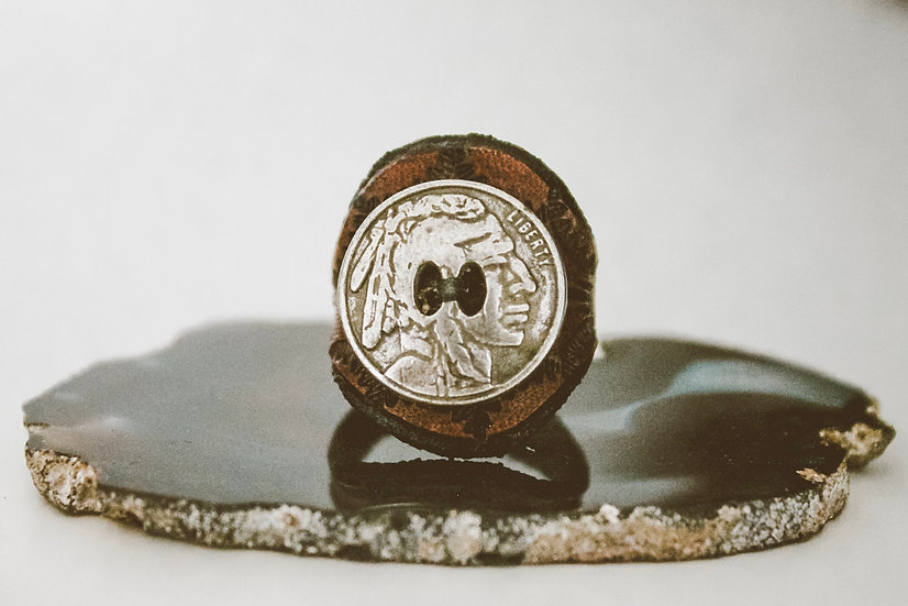 Indian Head Nickel Leather Ring