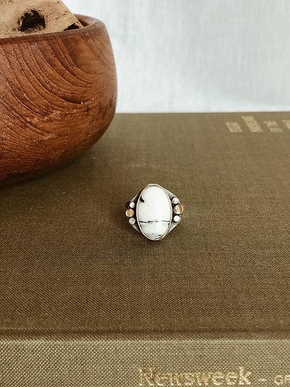 White Buffalo + Sterling Silver + Brass Ring III