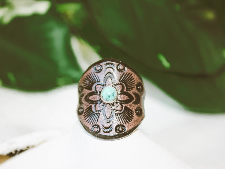 Small Turquoise Leather Ring