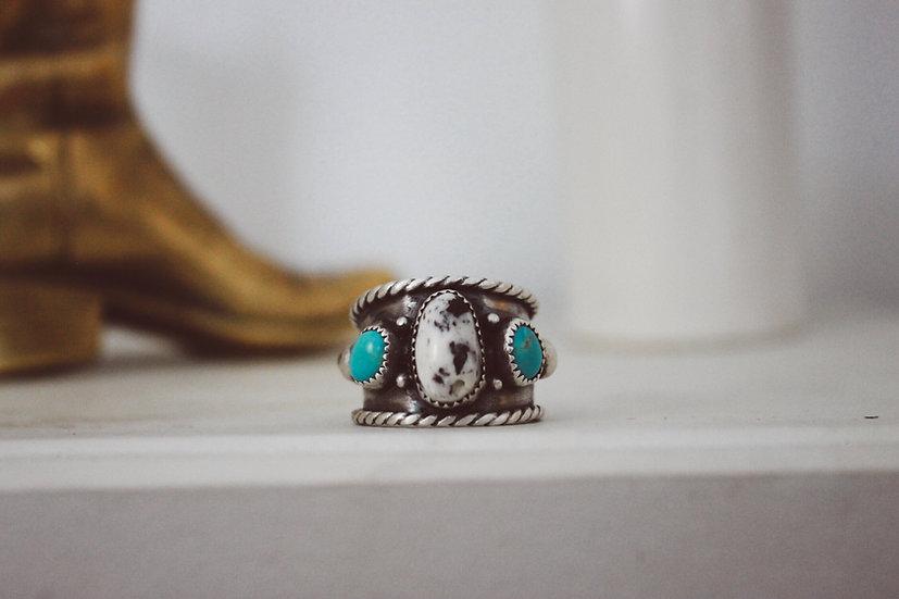 White Buffalo + Turquoise Ring
