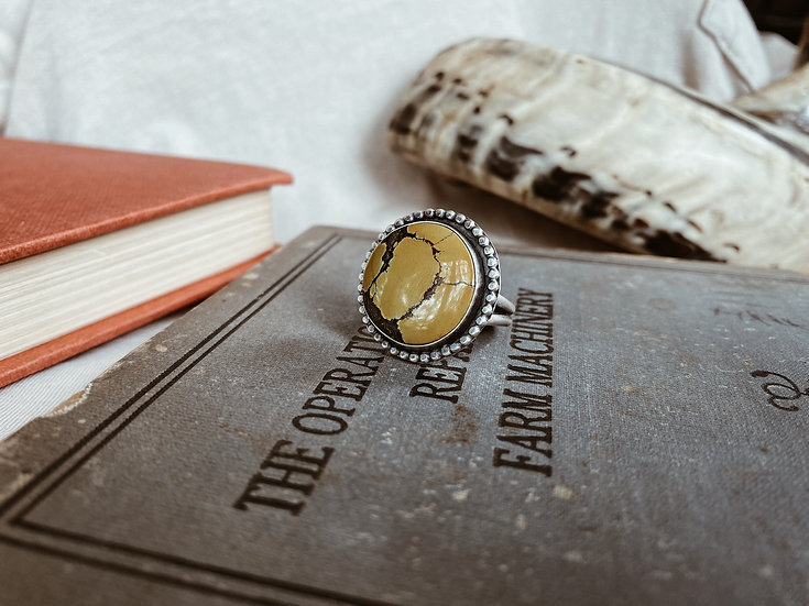 Yellow Turquoise + Sterling Silver Ring I