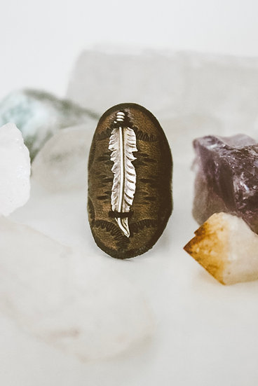 Feather Leather Ring