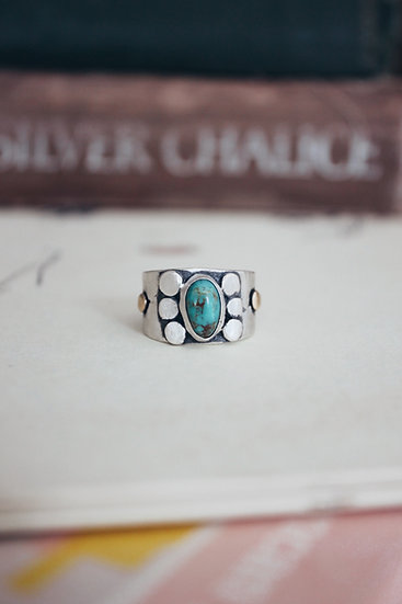 Sterling Silver + Brass + Turquoise Band Ring