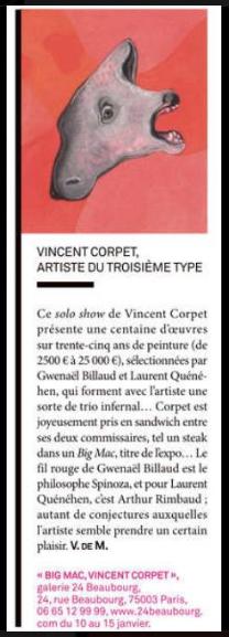 Vincent Corpet : Big Mac Paris 3e du 10 au 15 janvier