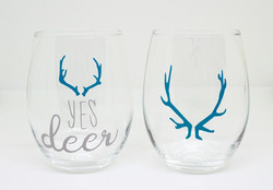 Custom couples' wine glasses