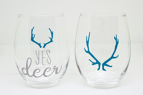 Yes Deer Stemless Wine Glass Duo