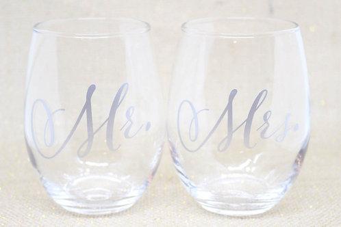 Mr. & Mrs. Stemless Wine Glass Duo