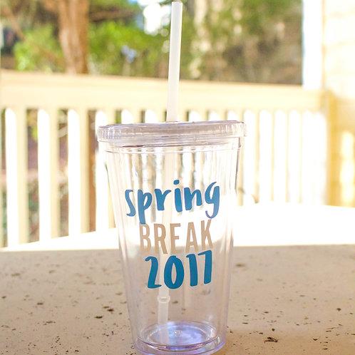 Spring Break 2017 Clear Plastic Tumblers