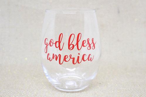 """God Bless America"" Stemless Wine Glass"