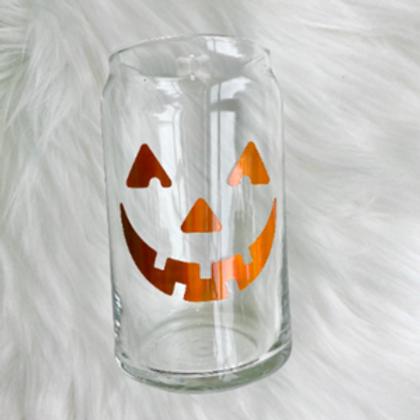 Jack-o-Lantern Beer Can Glass