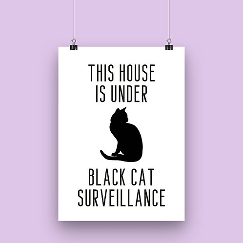 This House Is Under Black Cat Surveillance Wall Art