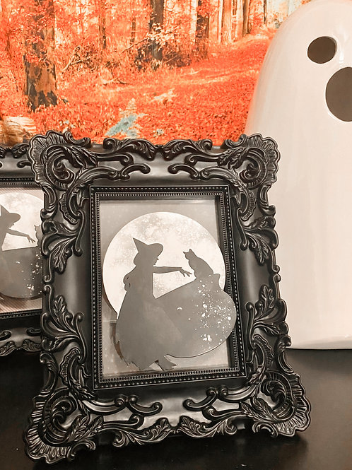 3D Witch Art in Gothic Black Frame