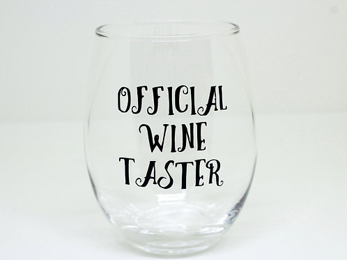 Official Wine Taster Stemless Wine Glass