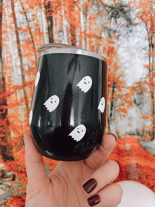 Ghostie Black Glitter Wine Tumbler with Straw
