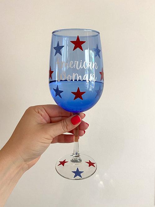American Woman Stemmed Wine Glass